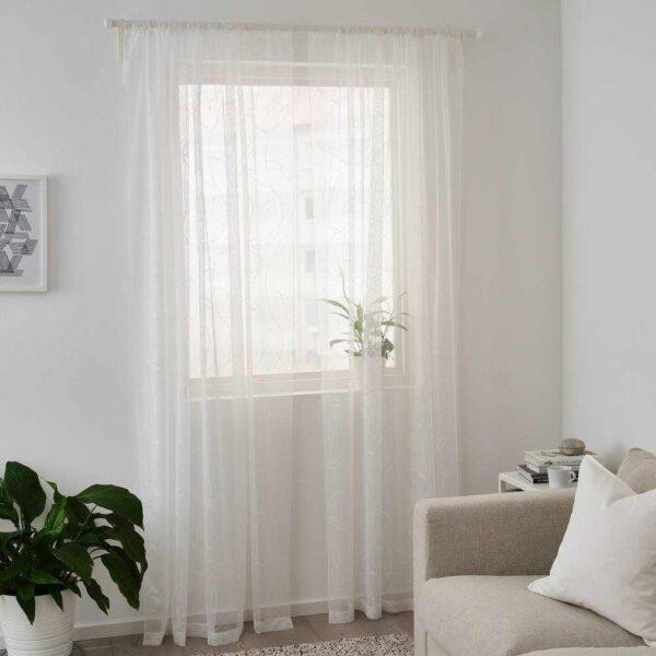 ЛИЛЛЕГЕРД Гардины, 2 шт., белый листья, 145x300 см - 804.647.84