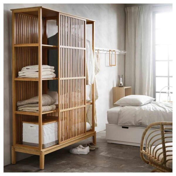 НОРДКИЗА Открытый гардероб/раздвижная дверь, бамбук, 120x186 см - 604.394.70