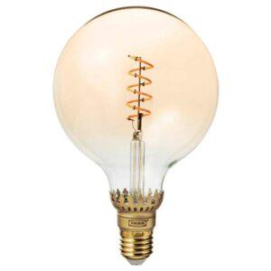 РОЛЛЬСБУ Светодиод E27 140 лм, регулируемая яркость, шаровидный коричневый, прозрачное стекло, 125 мм - 604.163.60