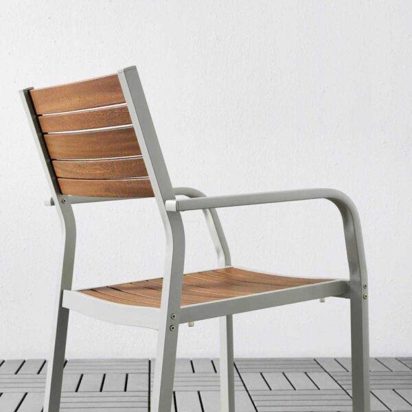 ШЭЛЛАНД Садовый стол и 2 легких кресла, светло-коричневый, Куддарна темно-серый, 71x71x73 см - 692.871.70