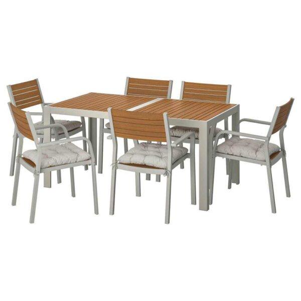 ШЭЛЛАНД Стол+6 кресел,д/сада, светло-коричневый, Куддарна серый, 156x90 см - 992.916.08