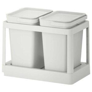 ХОЛЛБАР Решение для сортировки мусора, с выдвижным модулем, светло-серый, 20 л - 193.088.15