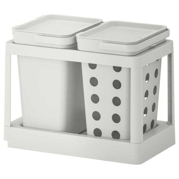 ХОЛЛБАР Решение для сортировки мусора, с выдвижным модулем вентилируемый, светло-серый, 20 л - 593.088.18
