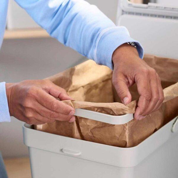 ХОЛЛБАР Решение для сортировки мусора, для кухонных ящиков МЕТОД вентилируемый, светло-серый, 55 л - 293.089.28