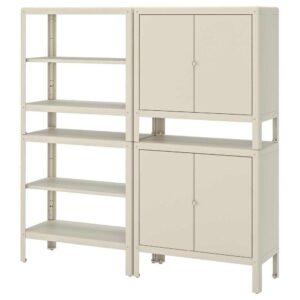 КОЛЬБЬЁРН Стеллаж с 2 шкафчиками, бежевый, 171x37 см - 292.916.35