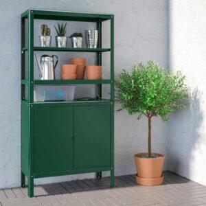 КОЛЬБЬЁРН Стеллаж с 1 шкафчиком, зеленый, 80x37x161 см - 493.175.59