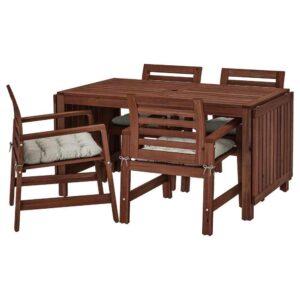 ЭПЛАРО Стол+4 кресла, д/сада, коричневая морилка, Куддарна серый - 692.894.28