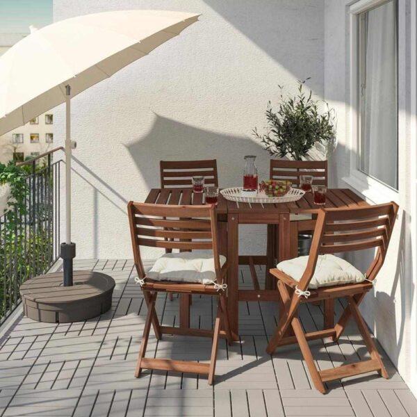 ЭПЛАРО Стол+4 складных стула, д/сада, коричневая морилка, Куддарна бежевый - 093.284.61