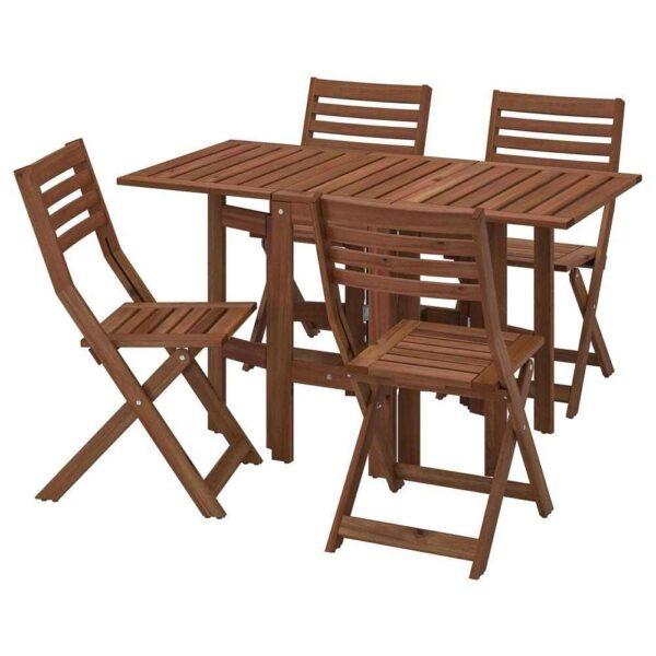 ЭПЛАРО Стол+4 складных стула, д/сада, коричневая морилка - 593.254.60