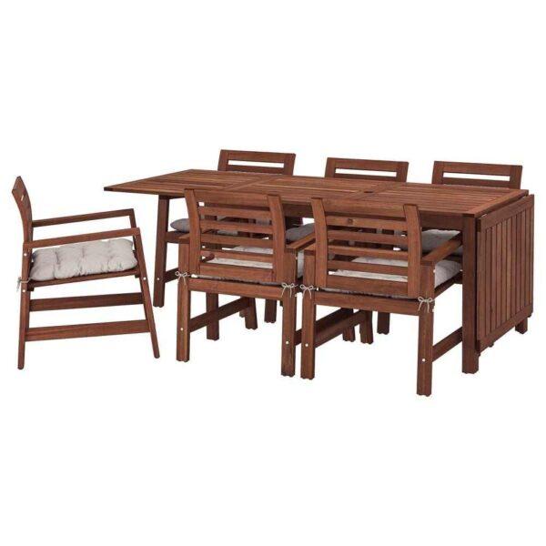 ЭПЛАРО Стол+6 кресел,д/сада, коричневая морилка, Куддарна серый - 292.896.99