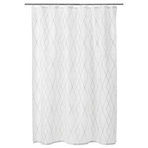 БАСТШЁН Штора для ванной, белый, серый/бежевый, 180x200 см - 404.660.68