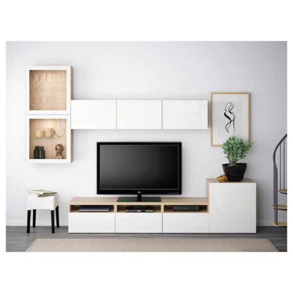 БЕСТО Шкаф для ТВ, комбин/стеклян дверцы - 893.310.49