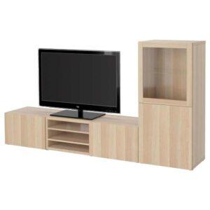 БЕСТО Шкаф для ТВ, комбин/стеклян дверцы - 393.294.16
