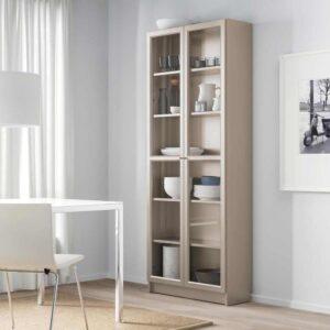 БИЛЛИ Шкаф книжный со стеклянными дверьми, серый, эффект «металлик», 80x30x202 см - 504.156.05