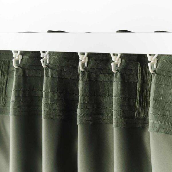 БЛОХУВА Гардины, блокирующие свет, 1 пара, зеленый, 145x300 см - 404.654.60