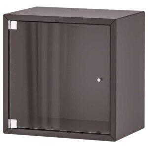 ЭКЕТ Навесной шкаф со стеклянной дверью, темно-серый, 35x25x35 см - 093.363.43