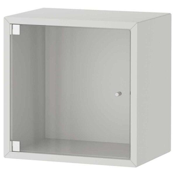 ЭКЕТ Навесной шкаф со стеклянной дверью, светло-серый, 35x25x35 см - 793.363.49