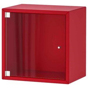 ЭКЕТ Навесной шкаф со стеклянной дверью, красный, 35x25x35 см - 193.363.52