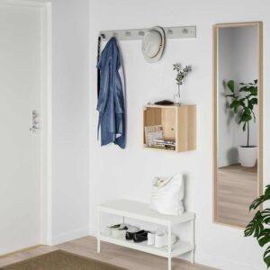ЭКЕТ Навесной шкаф со стеклянной дверью, под беленый дуб, 35x25x35 см - 493.363.55