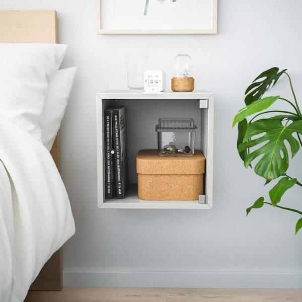 ЭКЕТ Навесной шкаф со стеклянной дверью, светло-серый, 35x35x35 см - 993.363.67