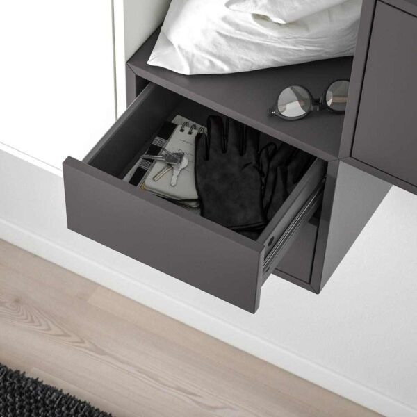 ЭКЕТ Комбинация настенных шкафов, белый, светло-серый/темно-серый, 175x35x70 см - 993.293.95