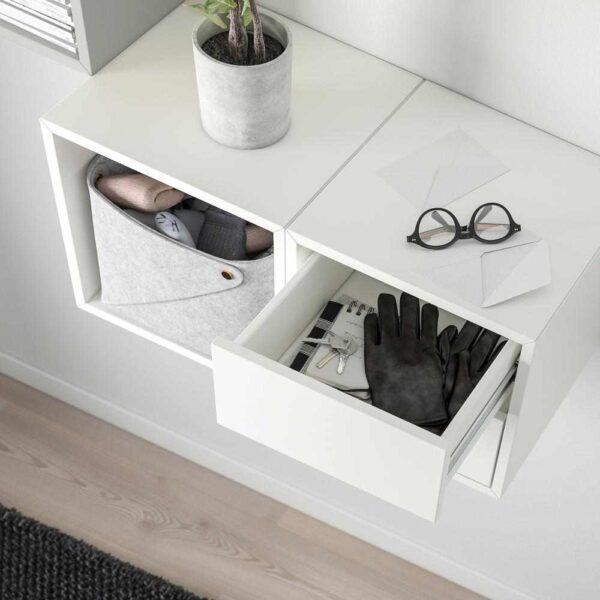 ЭКЕТ Комбинация д/хранения, светло-серый, белый, 105x35x70 см - 893.363.82