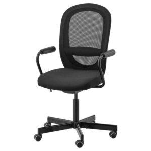 ФЛИНТАН / НОМИНЕЛЬ Рабочий стул с подлокотниками, черный - 392.081.98