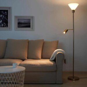 ФЛУГБУ Торшер/лампа для чтения, желтая медь, стекло - 404.633.76