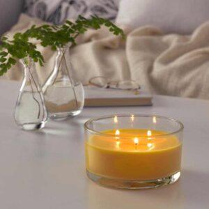 ФОЛКРИК Ароматич свеча в стакане, 3 фитиля, Лимонад, желтый - 204.888.39