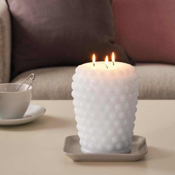 ФРАМБРИНГА Неароматич свеча формовая, 3 фитиля, белый, 19 см - 304.881.79