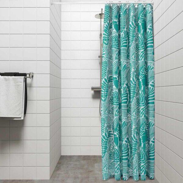 ГАТКАМОМИЛЛ Штора для ванной, бирюзовый, белый, 180x200 см - 504.662.04