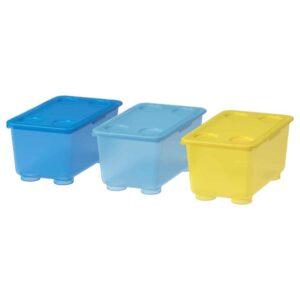 ГЛИС Контейнер с крышкой, желтый, синий, 17x10 см - 604.661.52