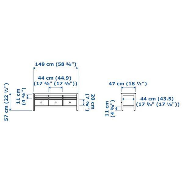 ХЕМНЭС Тумба под ТВ, черно-коричневый, светло-коричневый, 148x47x57 см - 304.523.02