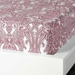 ЙЭТТЕВАЛЛМО Простыня натяжная, белый, темно-розовый, 140x200 см - 204.610.43