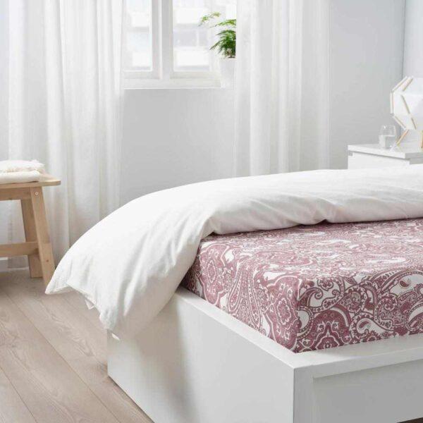 ЙЭТТЕВАЛЛМО Простыня натяжная, белый, темно-розовый, 90x200 см - 204.610.57