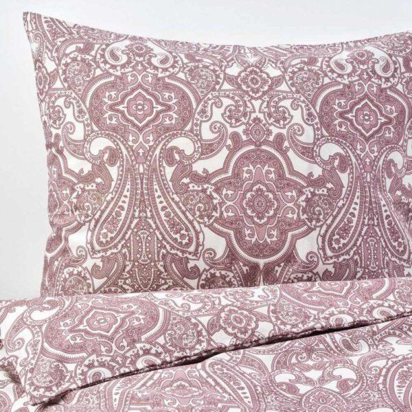 ЙЭТТЕВАЛЛМО Пододеяльник и 2 наволочки, белый, темно-розовый, 200x200/50x70 см - 604.609.75