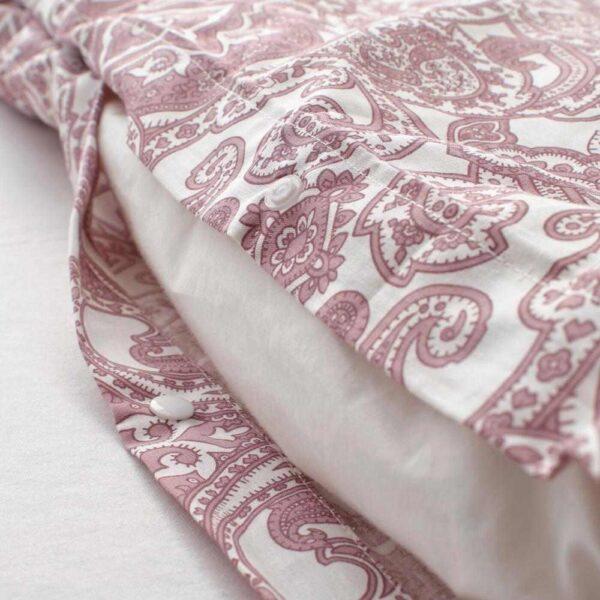 ЙЭТТЕВАЛЛМО Пододеяльник и 1 наволочка, белый, темно-розовый, 150x200/50x70 см - 304.609.91