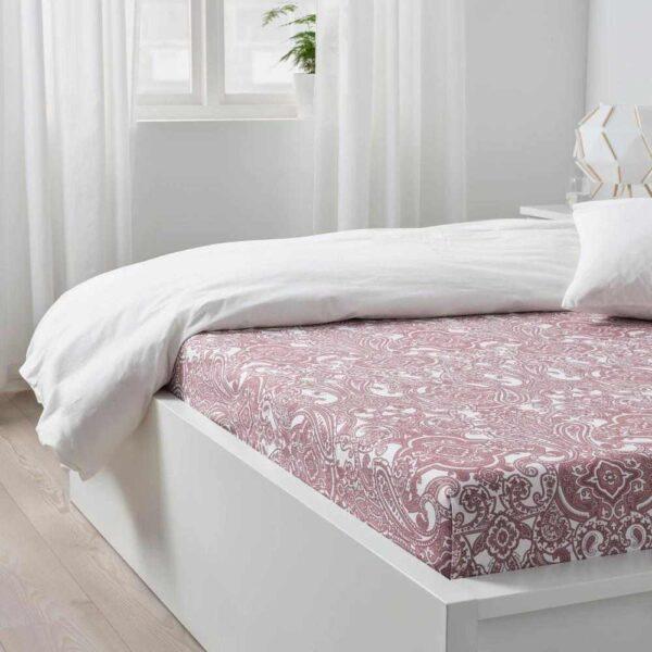 ЙЭТТЕВАЛЛМО Простыня, белый, темно-розовый, 240x260 см - 604.611.02