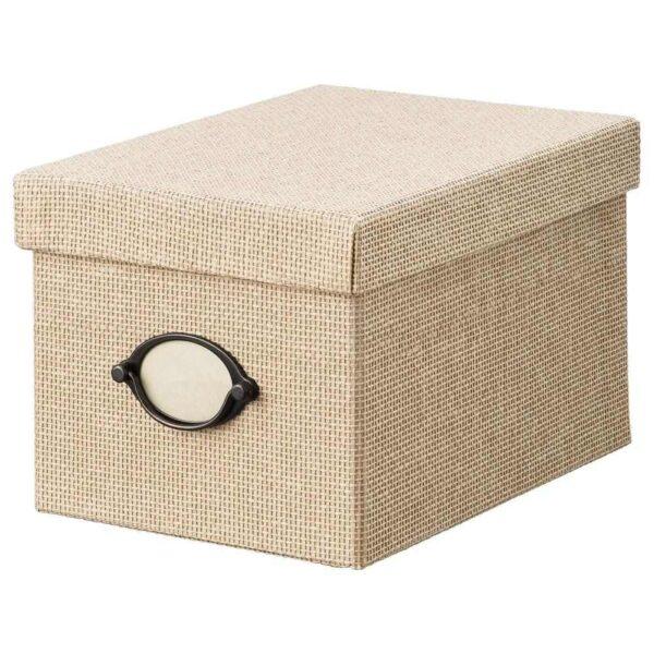 КВАРНВИК Коробка с крышкой, бежевый, 18x25x15 см - 104.668.71