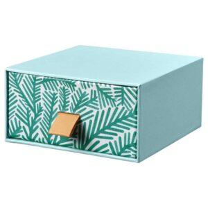 ЛАНКМОЙ Мини-комод, голубой, орнамент «листья», 12x12 см - 404.680.29