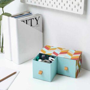 ЛАНКМОЙ Мини-комод с 2 ящиками, голубой, разноцветный, 26x12 см - 004.680.31