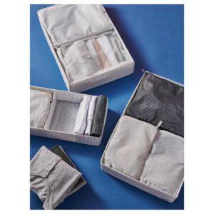 РЕНСАРЕ Сумка для одежды, 3 шт., клетчатый орнамент, серый черный - 104.325.03