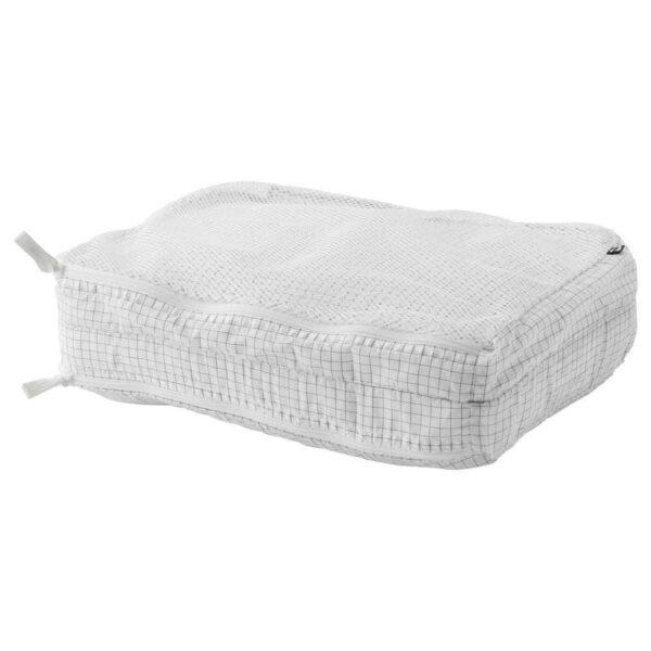 РЕНСАРЕ Сумка для одежды с отделениями, клетчатый орнамент, белый - 104.466.56