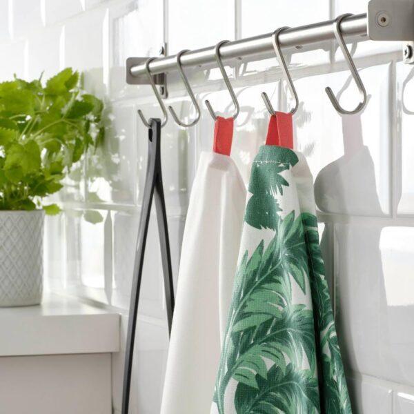 СИЛВЕРПОППЕЛ Полотенце кухонное, с рисунком зеленый, белый, 50x70 см - 904.541.19