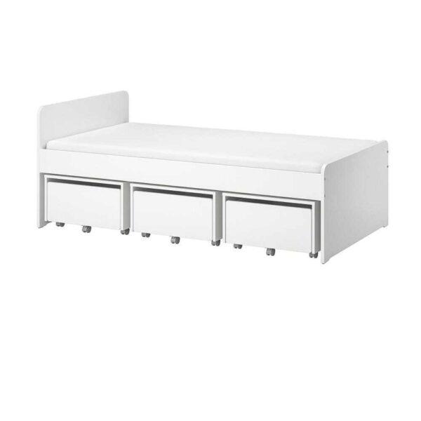 СЛЭКТ Каркас кровати с 3 ящиками, белый, 90x200 см - 493.861.14
