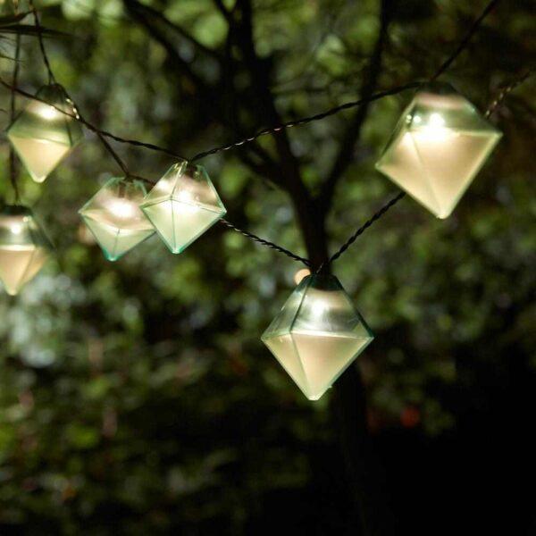 СОЛВИДЕН Гирлянда, 12 светодиодов, для сада на солнечной батарее, в форме алмаза синий - 204.530.43