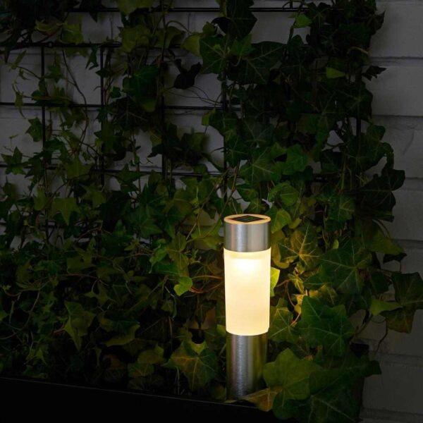 СОЛВИДЕН Светодиодная подсветка н/солнеч бат, цилиндр, цвет алюминия - 704.614.08