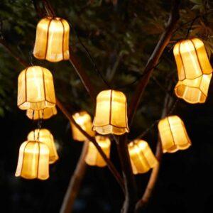 СОЛВИДЕН Гирлянда, 12 светодиодов, для сада на солнечной батарее, тюльпан золотой - 204.543.92