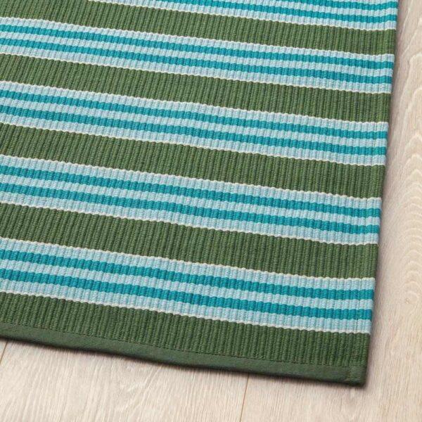 СОММАР 2020 Ковер, безворсовый, в полоску бирюзовый/зеленый, 80x150 см - 404.651.01