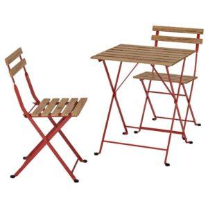 ТЭРНО Стол+2стула,д/сада, красный, светло-коричневая морилка - 093.124.17